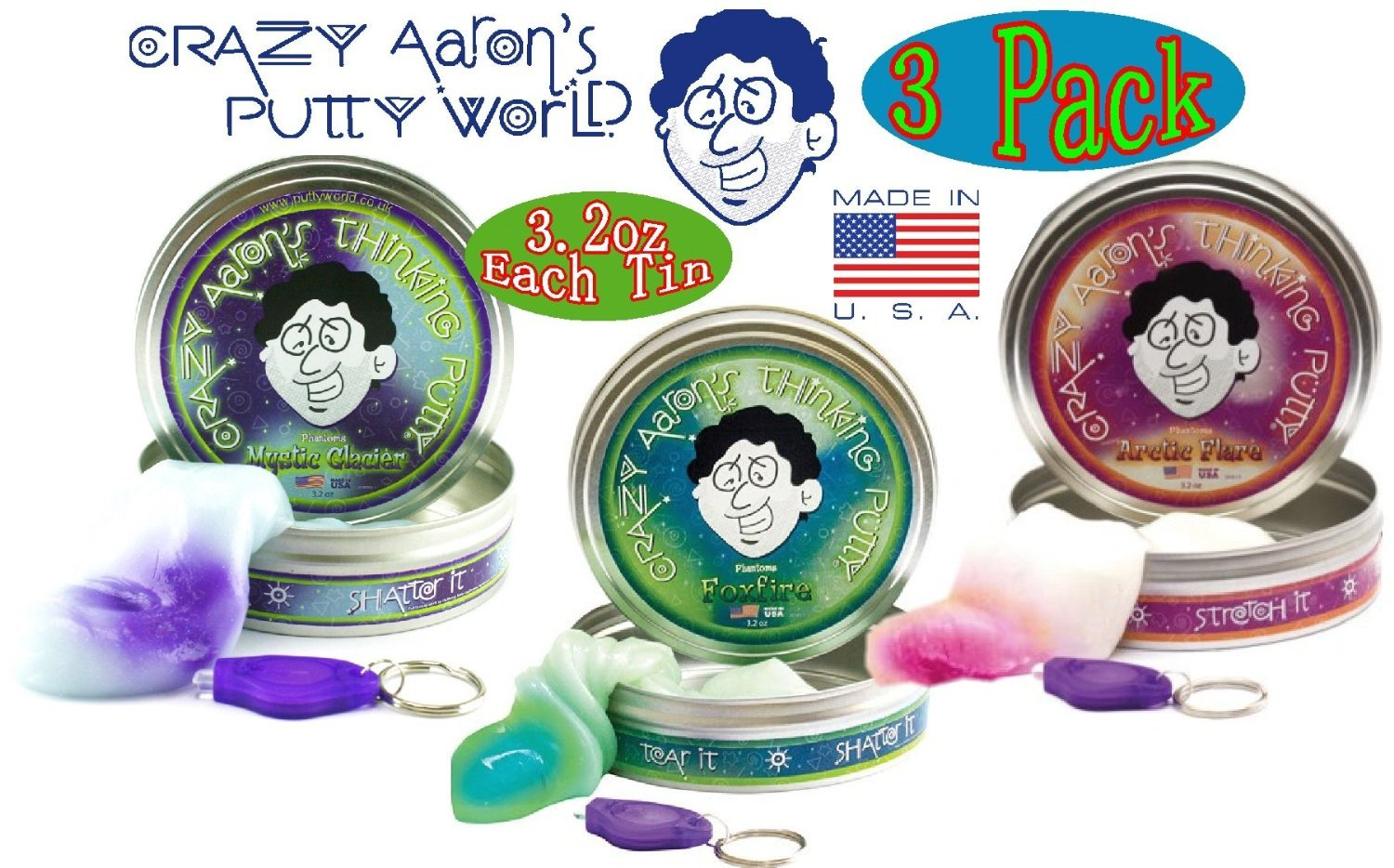 Crazy Aaron's Thinking Putty Phantoms (UV Reactive) Mystic Glacier, Foxfire & Arctic Flare with Blacklight Keychains Gift Set Bundle - 3 Pack