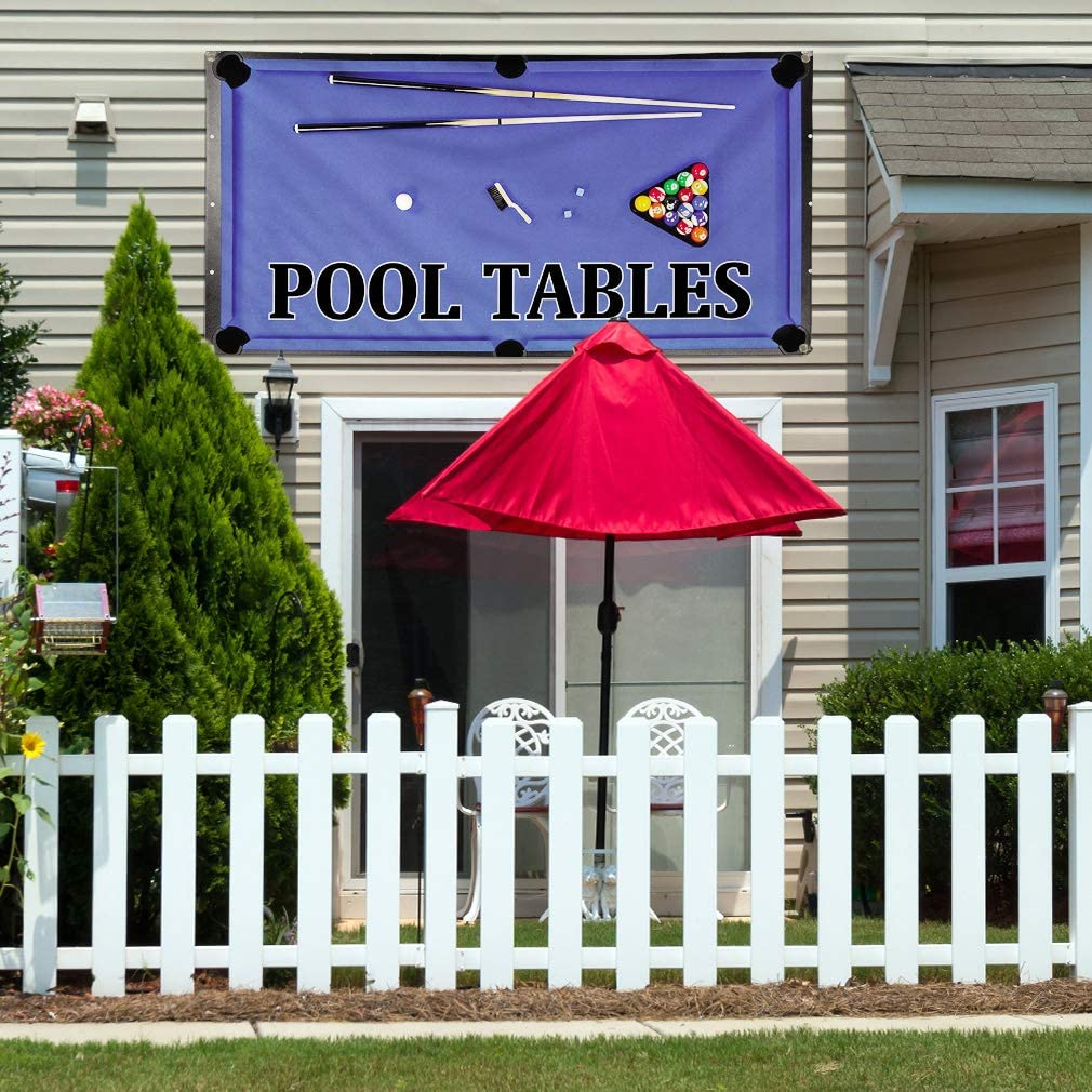 Vinyl Banner Multiple Sizes Pool Tables A Outdoor Advertising Printing Business Outdoor Weatherproof Industrial Yard Signs 10 Grommets 60x144Inches