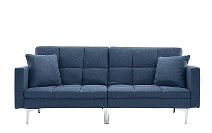 amazon com modern plush tufted linen split back living room futon rh amazon com
