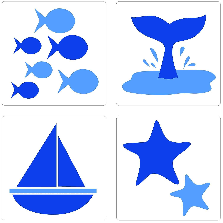 PLAGE 260512 Adhesivos de decoració n para azulejos Smooth, Mar, 4 Hojas, 14,5 x 14,5 cm