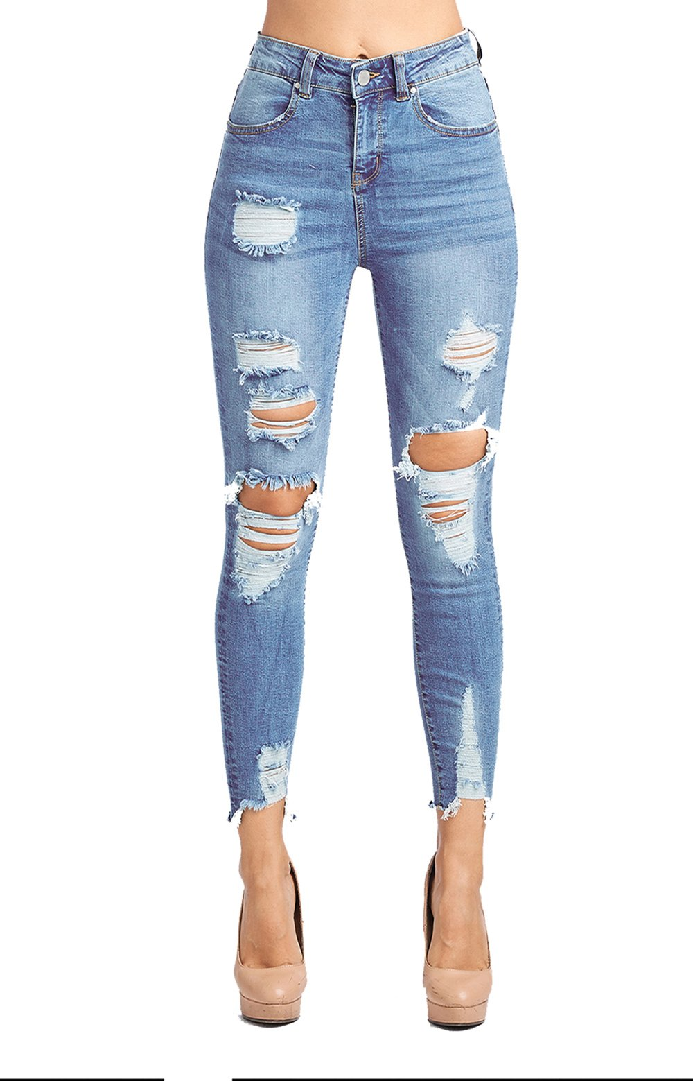 Blue Age Womens Destroyed Stretch Skinny Jeans (JP1078A_LT_11)
