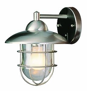 Trans Globe Lighting 4371 ST Coastal Coach 12-Inch Outdoor Wall Lantern, Stainless Steel