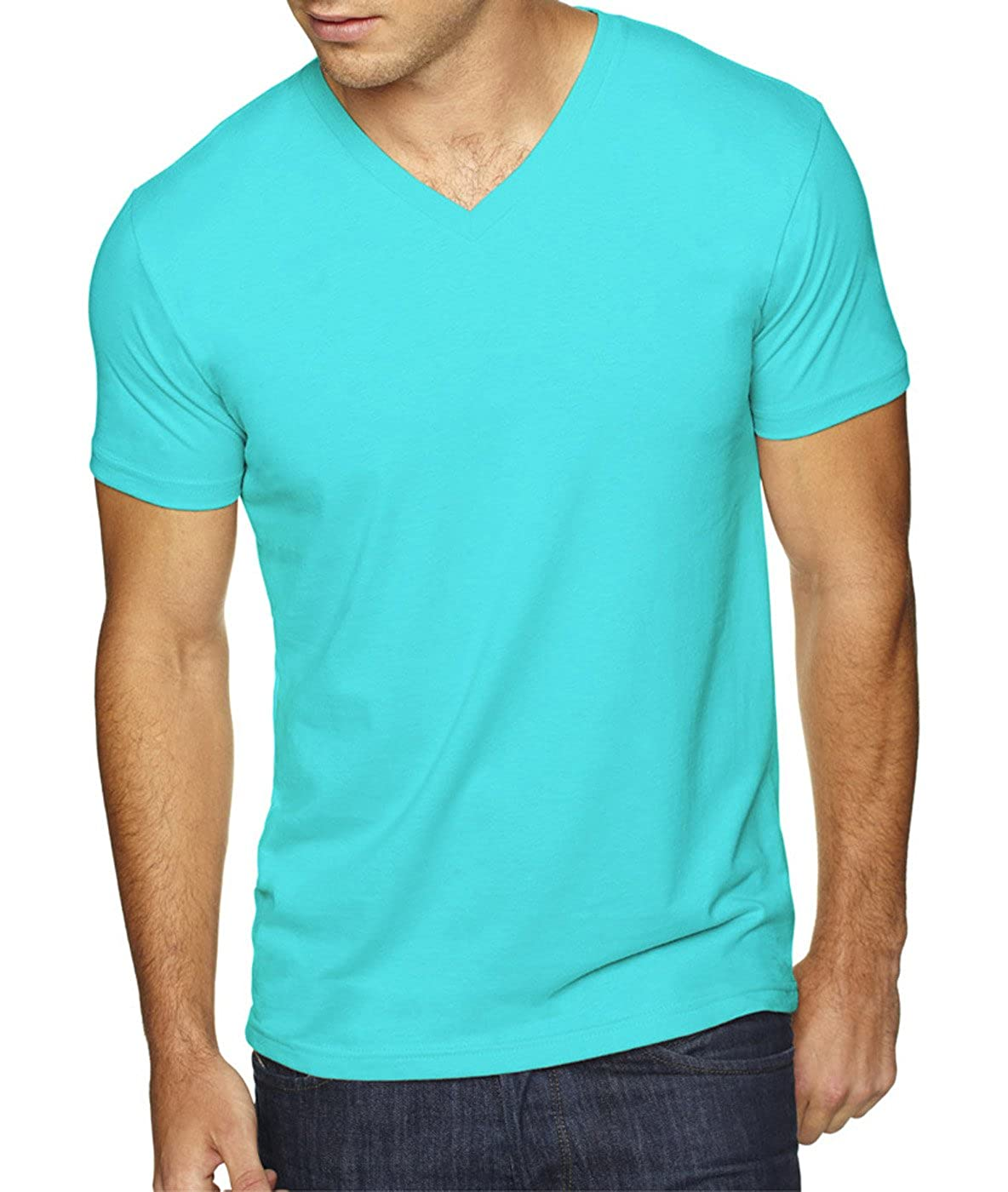 - Medium Military Green Tahiti Blue Next Level Apparel 6440 Mens Premium Fitted Sueded V-Neck Tee -2 Pack 2 Shirts