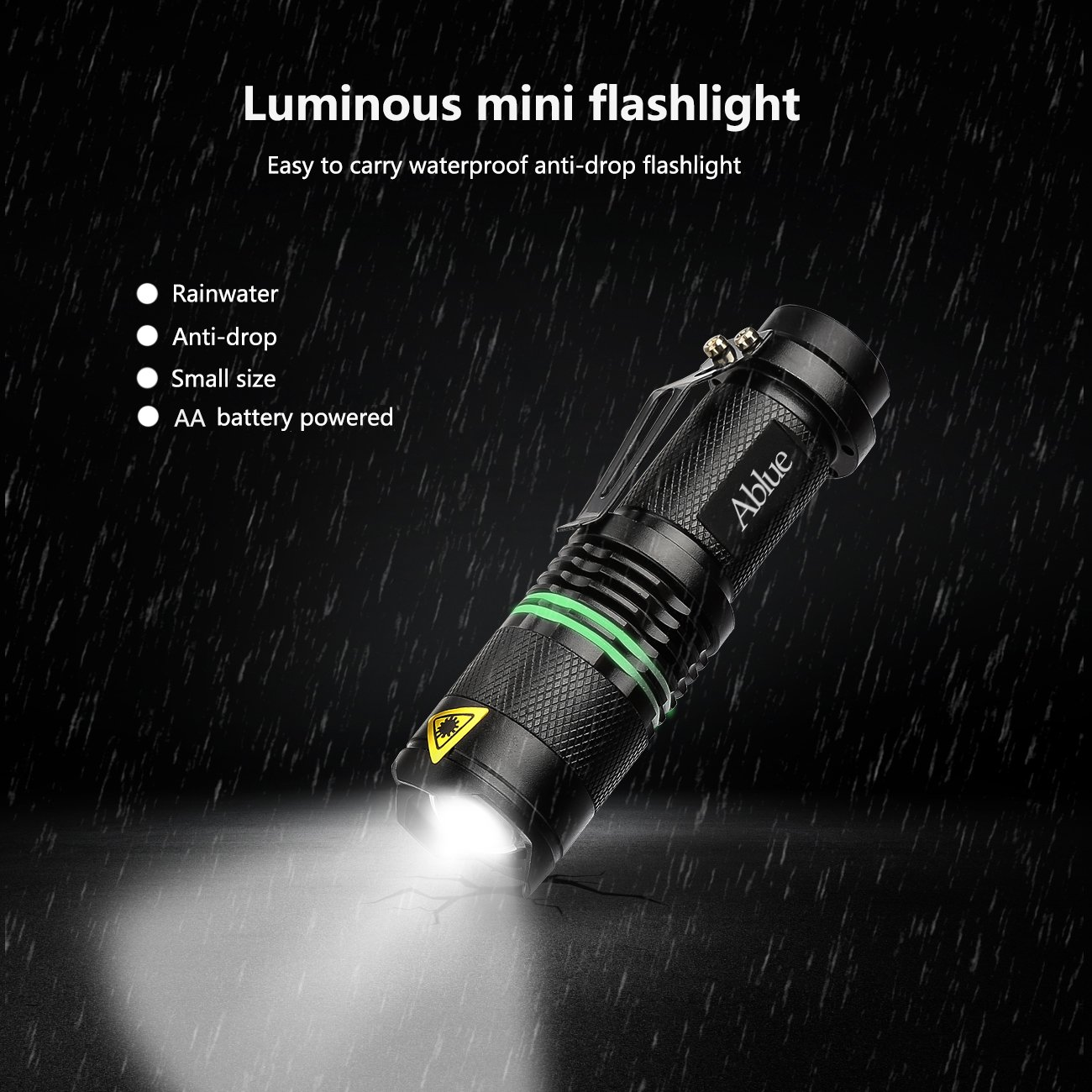 Ablue LED Flashlight, Bright handheld A100 Mini 3 Mode Zoomable Tactical Flashlight with Fluorescent Ring(2 Pack)