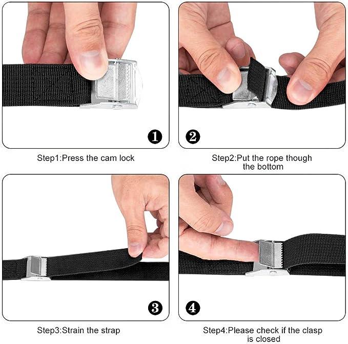 Ideal para Fijar al Portabicicletas del Coche 250KG ToWinle Correas de Sujeci/ón con Hebilla 10 pack cada una de 2 m en negro
