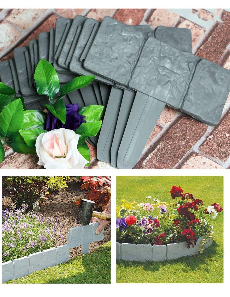 10x Lawn Edging Cobble Stone Effect Plastic Hammer In Plant Lawn Border Support