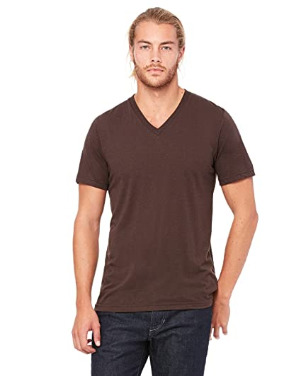 e1c1e1e6b3c6 Canvas Bella Unisex Triblend V-Neck T-Shirt, Brown Triblend, Small