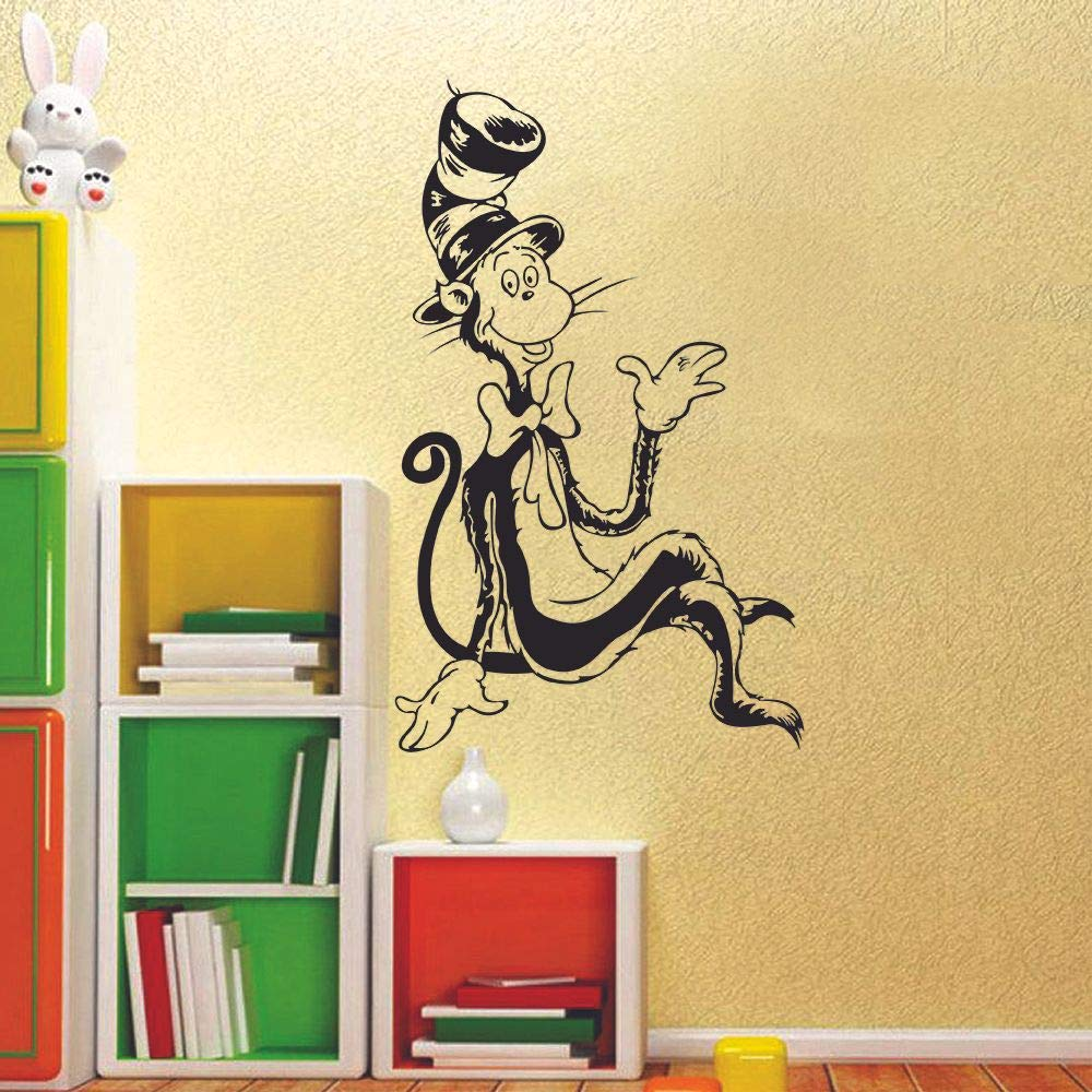 20x18 inch The Cat in The Hat Dr Seuss Book Character Wall Sticker Art Decal for Girls Boys Kids Room Bedroom Nursery Kindergarten House Fun Home Decor Stickers Wall Art Vinyl Decoration Size