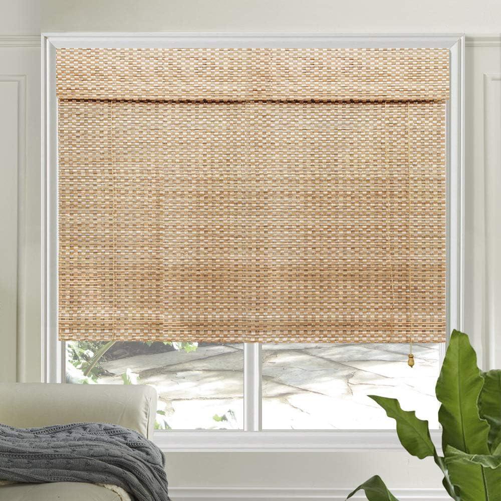 LETAU Wood Window Shades Blinds, Bamboo LightFilteringCustom Roman Shades, New Pattern 9: Home & Kitchen