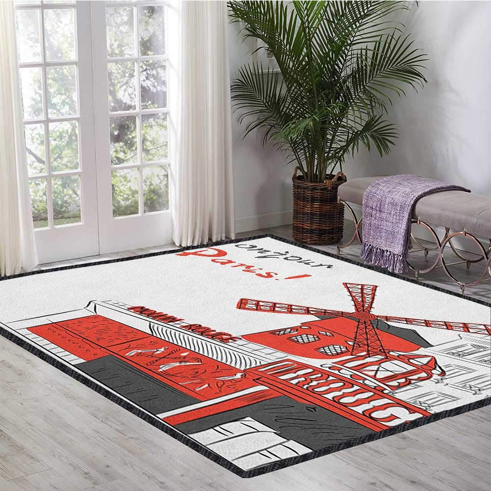 Paris Modern Area Rug with Non-Skid,Sketch Art of Urban Landscape with Cabaret Moulin Rouge in Paris Modern City Decor Carpet Popular Colors Orange Grey White 55''x63'' by Philip C. Williams