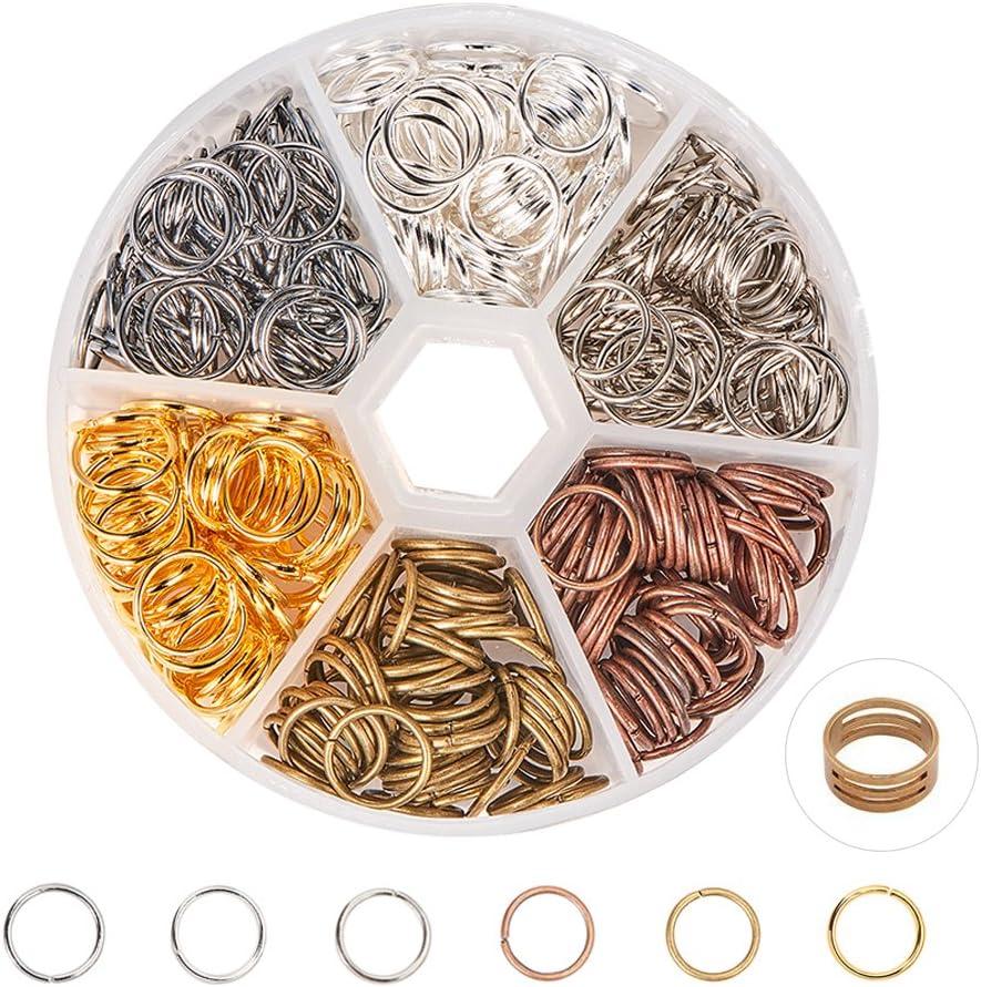 1 caja de anillos de salto PandaHall Elite enchapados en hierro sin soldar de 6 colores, multicolor-6, 10 mm