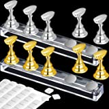 2 Set Acrylic Nail Art Practice Stands Magnetic Nail Tips Holders Training Fingernail Display Stands DIY Nail Crystal…