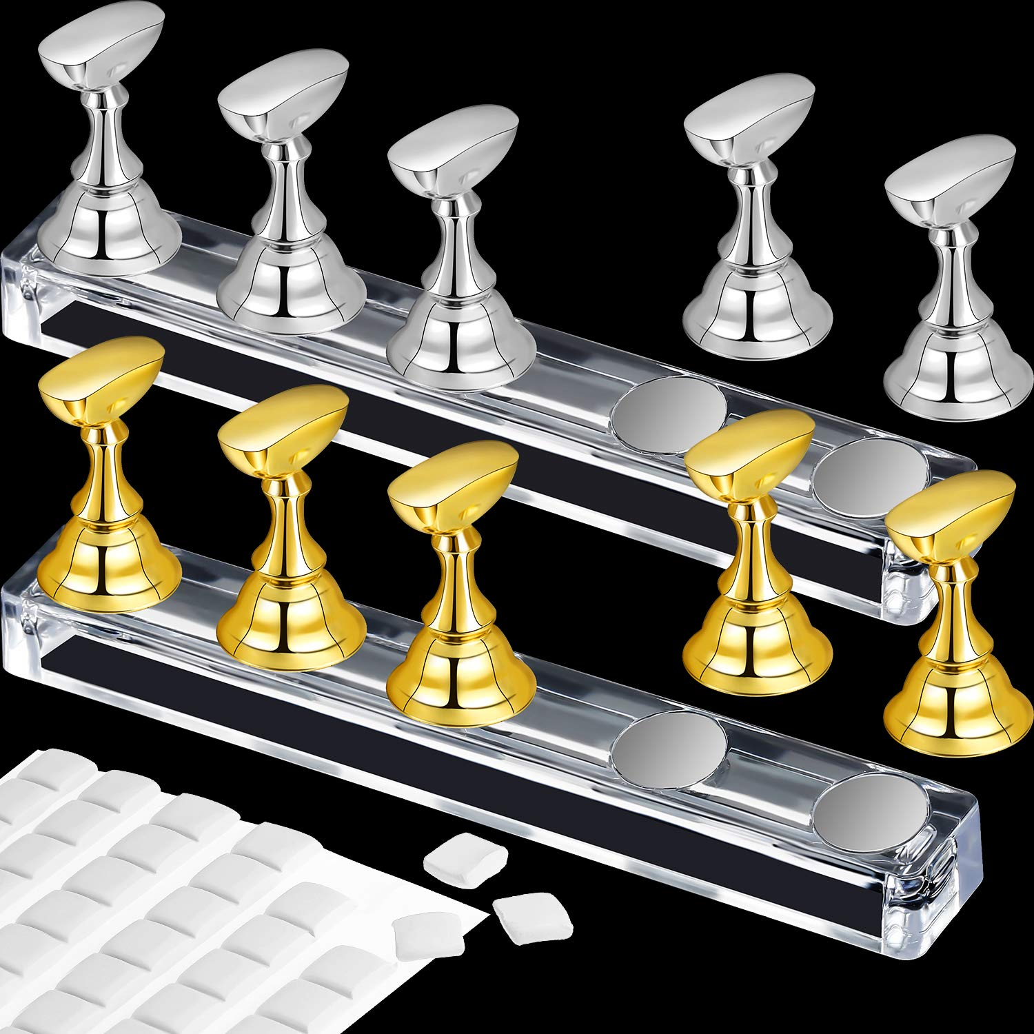 2 Set Acrylic Nail Art Practice Stands Magnetic Nail Tips Holders Training Fingernail Display Stands DIY Nail Crystal Holders and 96 Pieces White Reusable Adhesive Putty (Gold and Silver) : Beauty