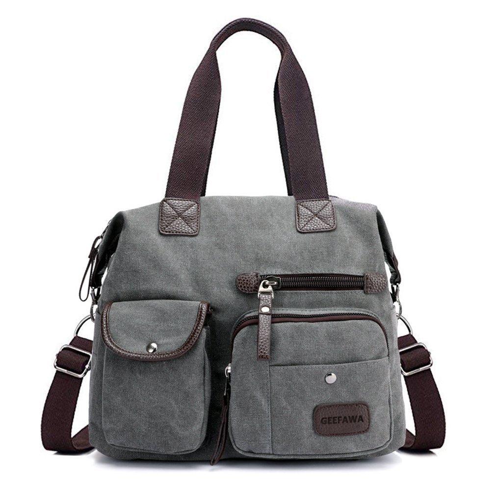 Women's Canvas Tote Bag Top Handle Bags Shoulder Handbag Tote Shopper Handbag crossbody bags (Gray) by Greatbuy-US (Image #1)