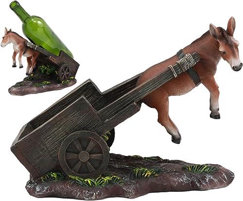 Ebros Helpless Moonshine Mule Pulling A Cart Wine Bottle Holder Caddy Figurine 10 Long LOL Decor