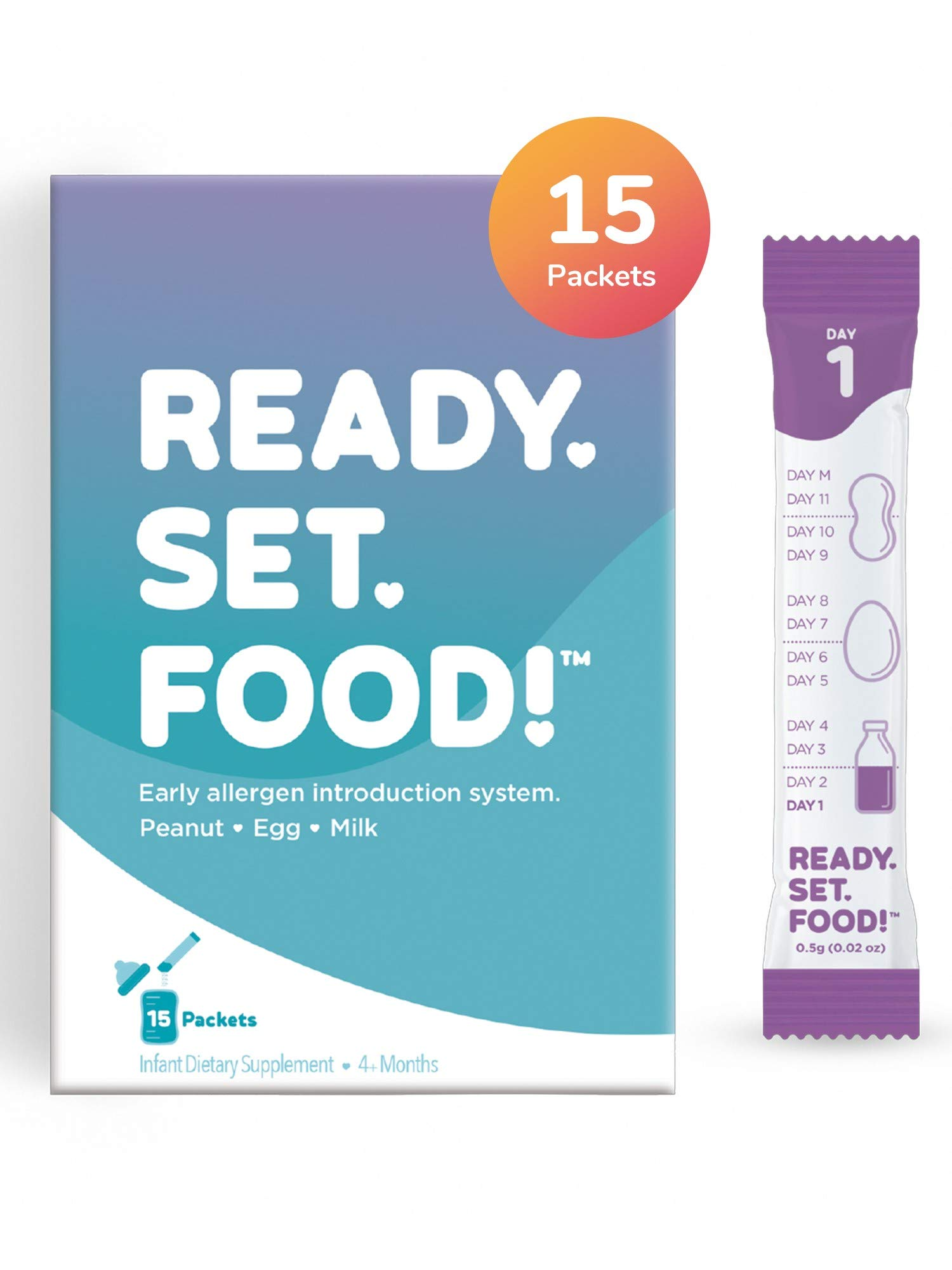 Early Allergen Introduction by Ready, Set, Food! | Add to Baby Food, Milk, or Formula | Reduce Baby's Risk of Developing a Food Allergy | Made with Organic Peanut, Egg, Milk | Easy to Use Stage 1 by Ready, Set, Food!