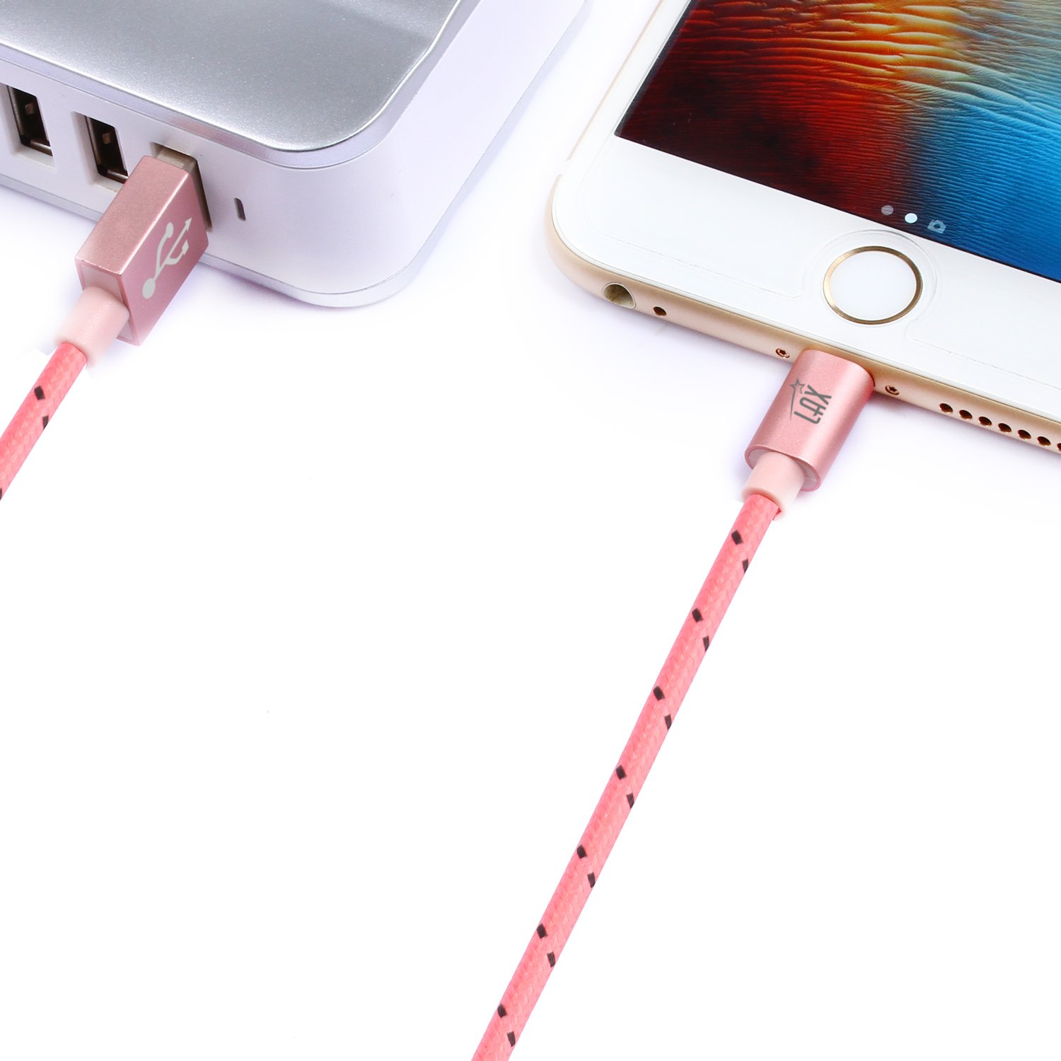 LAX Gadgets Extra Long Apple MFi Certified Nylon Lightning Cable Cord | 6 Ft - Pink by LAX Gadgets (Image #9)