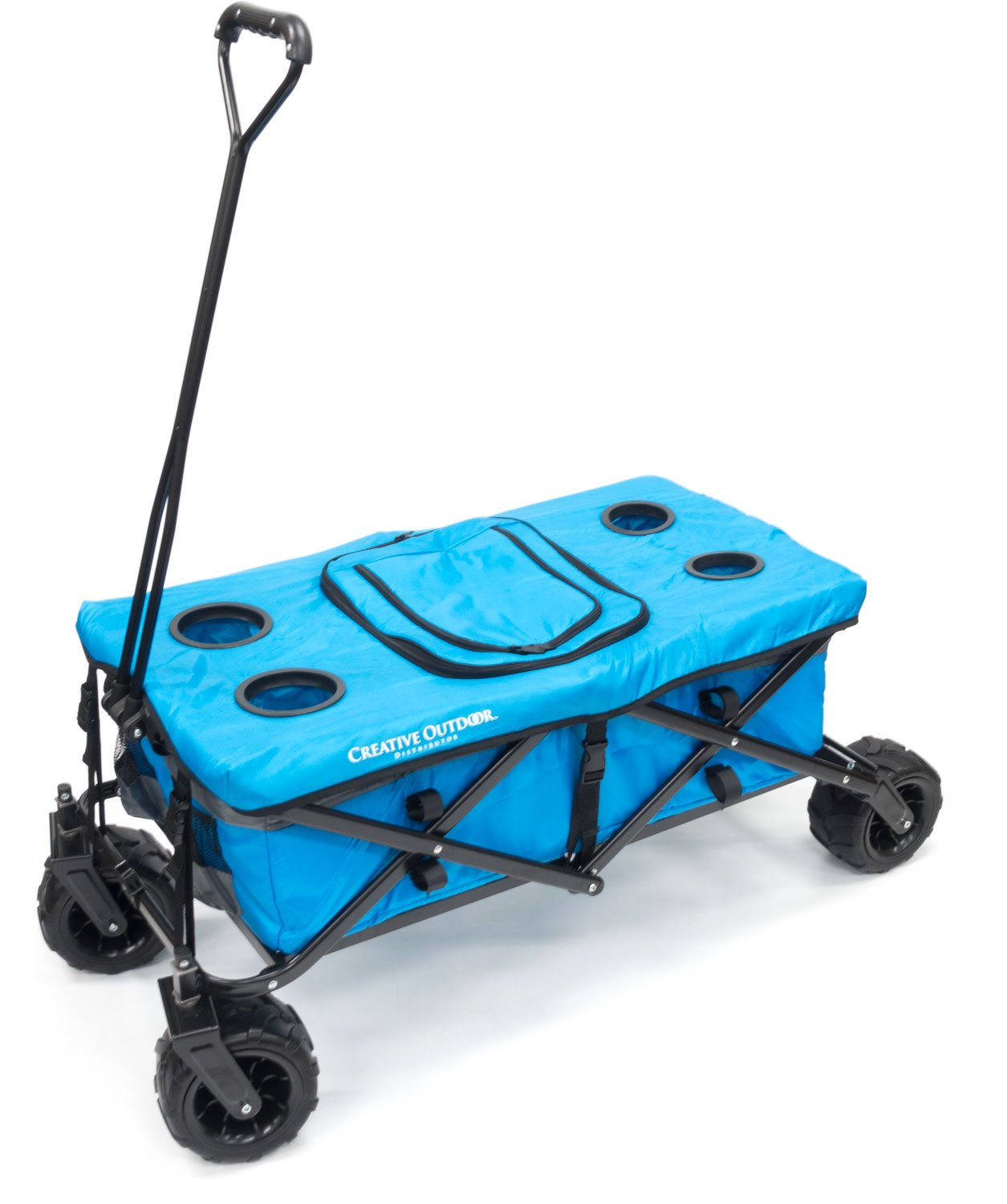 Creative Outdoor Distributor All-Terrain Folding Wagon Tabletop with Cooler Bag, Blue/Grey