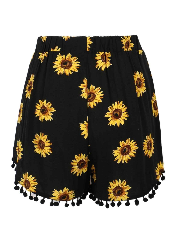 CHARLES RICHARDS CR Women's Black Sunflower Print High Waist Pom Poms Shorts (Small)