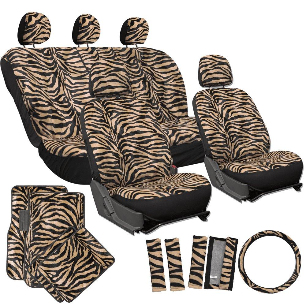 Amazon OxGord 21pc Zebra Car Seat Cover Carpet Floor Mat Steering Wheel And Shoulder Pad Set