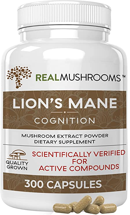 Lions Mane Mushroom Cognition Capsules for Mental Clarity (300ct) | Lions Mane Powder Extract Capsules for Focus & Immune Support | Verified Levels of Beta-Glucans, Non-GMO, Vegan