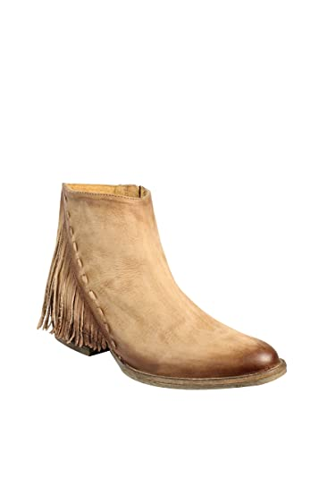 22d3b2d7f55 Corral Women's Distressed Honey Side Fringe Round Toe Distressed Tan  Leather Booties - Sizes 5-12 B