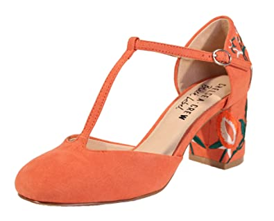 110d84b55447 Chelsea Crew Frenchie Embroidered Suede T Strap Block Heel Pumps