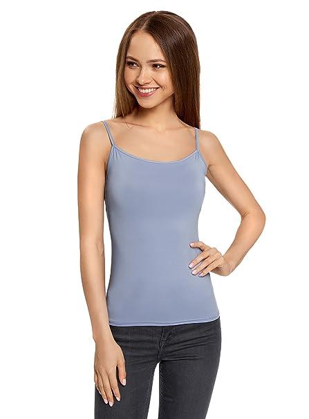oodji Ultra Mujer Camiseta de Tirantes Básica, Azul, ES 34 / XXS
