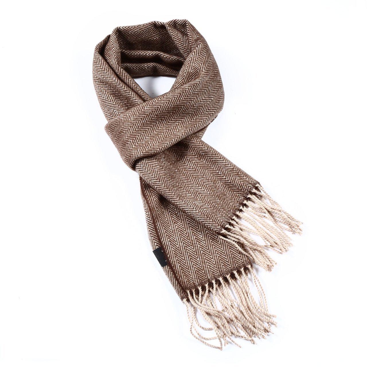 Herringbone Soft Wool Touch Tassel Ends Scarf Brown