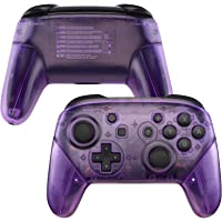 eXtremeRate Clear Atomic Puple Faceplate Backplate Handles for Nintendo Switch Pro Controller, DIY Replacement Grip…
