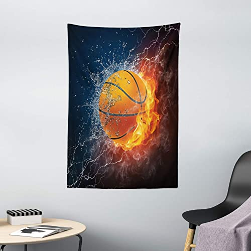 Ambesonne Sports Tapestry, Basketball Ball on Fire and Water Flame Splashing Thunder Lightning, Wall Hanging for Bedroom Living Room Dorm Decor, 40 X 60 , Blue Burgundy