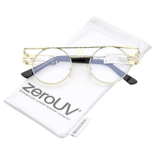 c716d83a437 Amazon.com  zeroUV - Steampunk Open Metal Round Glasses With Brow Bar And Flat  Lens 47mm (Gold Clear)  Clothing