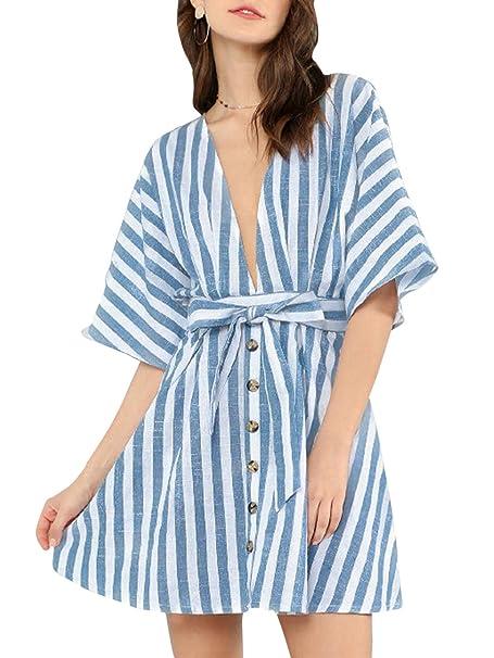 8107c97874f BerryGo Sexy Button Down Striped Dress Deep V Neck Backless Mini Dress  Light Blue-S