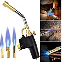 panthem MAPP Turbo quemador de gas propano con 3 boquillas puntas, disparador multifunción de alta intensidad con llama…