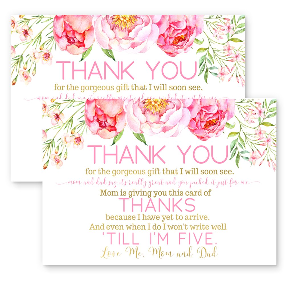 Amazon.com: Floral Baby Shower Thank You Postcards Set of 15: Office  Products