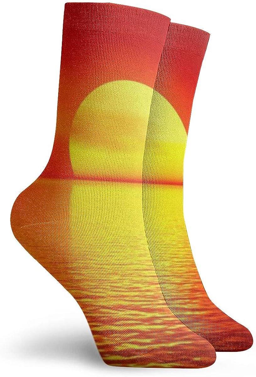 Sunset Sea Comfort Crew Socks For Ladies Cotton Socks