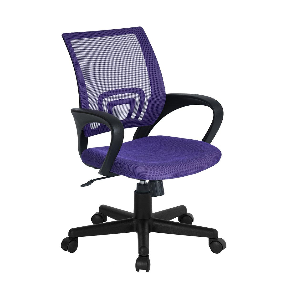 Ihouse Height Adjustable Midback Mesh Ergonomic Computer Office Swivel Desk Chair With Armrest,Purple