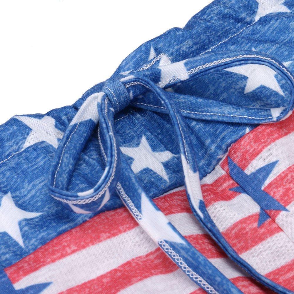 Masun Womens Drawstring Trousers American Flag Wide Leg Pants Leggings Bottoms Pants Soft Lounge Pants S-XL (S, Red)