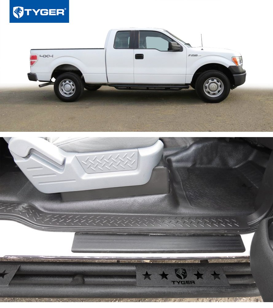 Textured Black Running Boards Side Step Nerf Bars Tyger Auto Tyger TG-AM2F20058 Star Armor Kit for 2009-2014 F-150 Super Cab