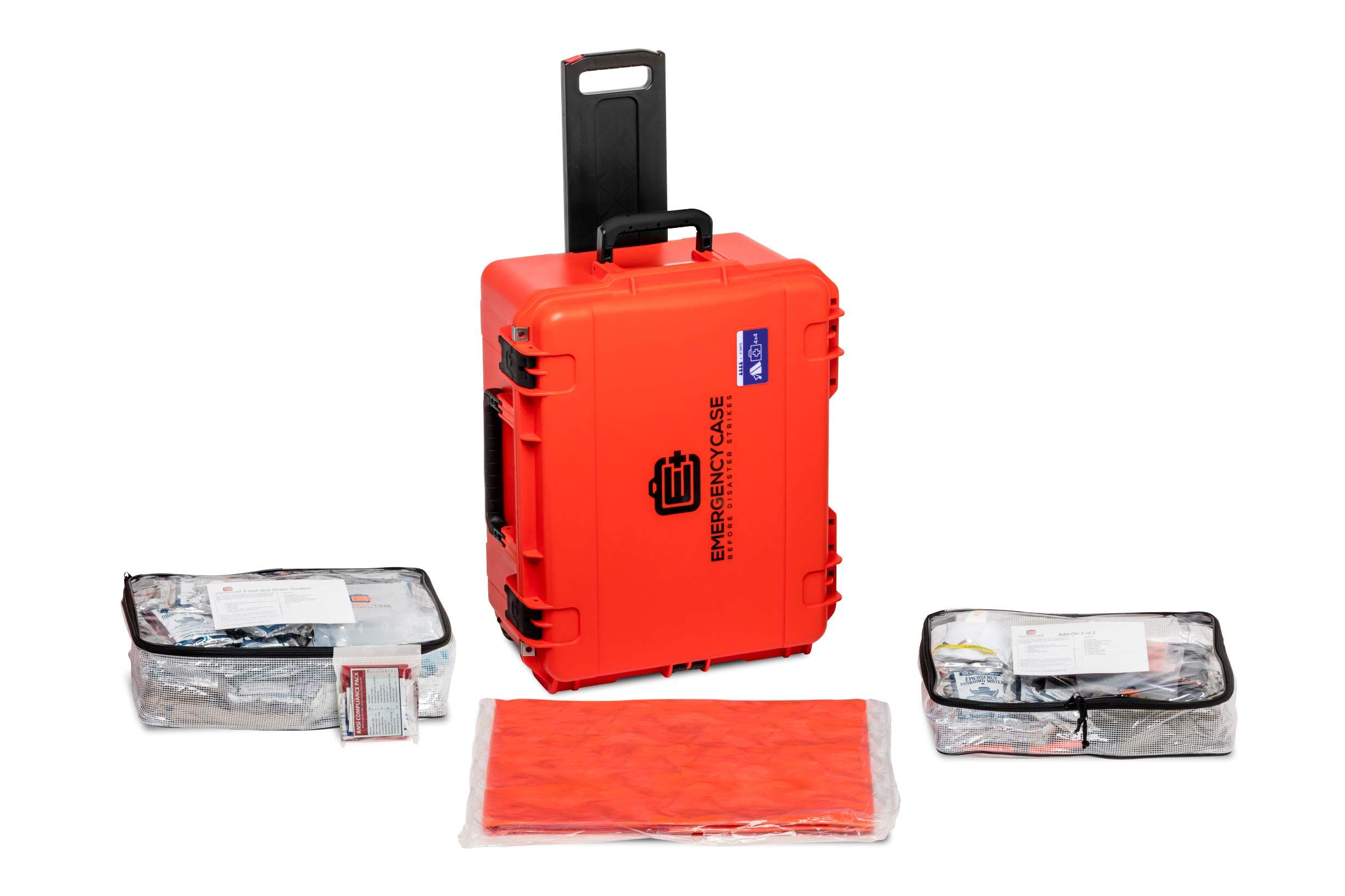 Emergency Case - Family Survival Kit - 4 Person 4 Days for Earthquakes, Hurricanes, Floods, Tornadoes, Wildfires