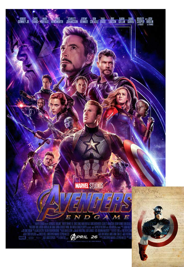 "Avengers Endgame Movie Poster 24""X36"" (with Bonus 2019 X-arnet We are The People 11x17 Print) - These are Certified Poster Office Prints with Sequential Holographic Numbering for Authenticity."