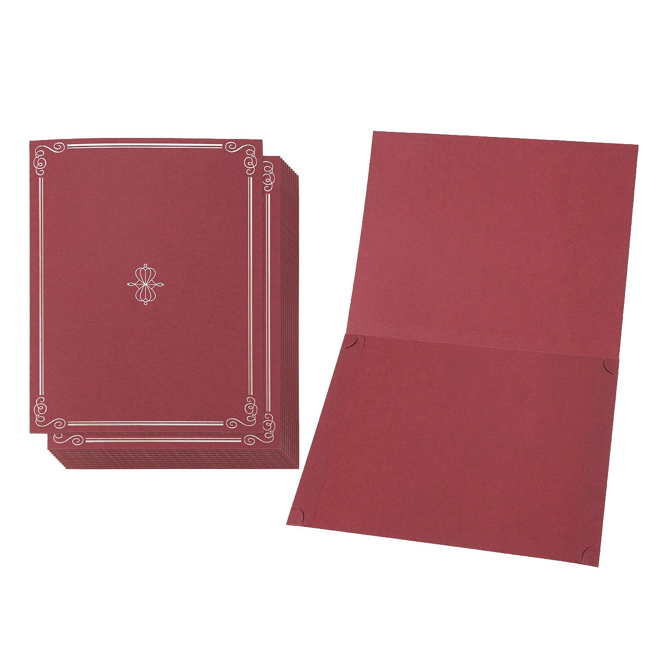 12-Pack Certificate Holder - Diploma Cover, Document Cover for Letter-Sized Award Certificates, Red, Silver Foil, 11.2 x 8.8 Inches