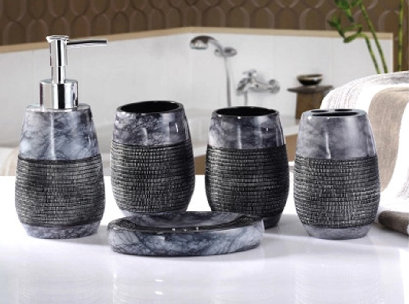Amazon.com: Yiyida Elegant Modern Bathroom Set Durable Resin Bath Home Accessory Set Gravel Design Tumbler Soap dish Soap Dispenser Toothbrush holder ...