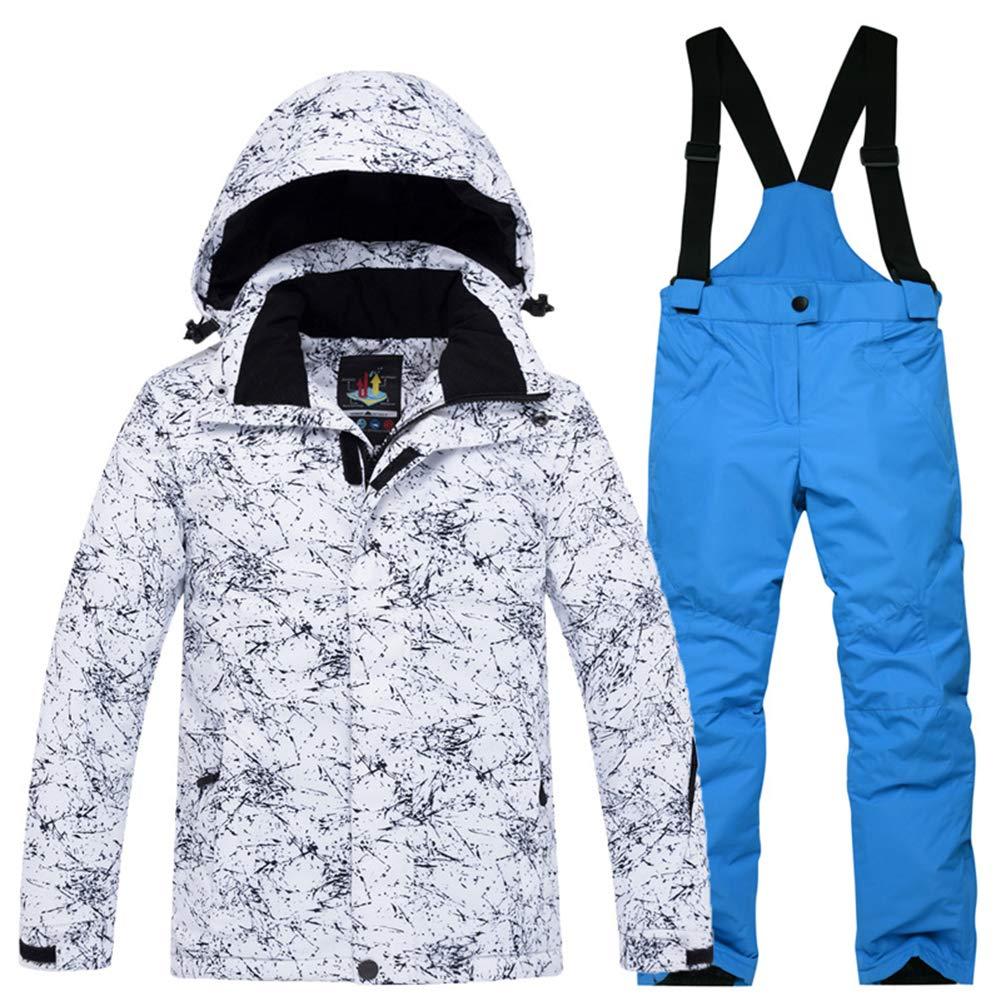 Foudre Blanc+bleu Roi XL 11ans YFCH Garçon Fille Ensemble de Ski Unisexe-Enfant Veste de Ski avec Salopette Combinaison de Ski