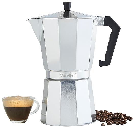 Cafetera Espresso Italiana para Hornillo VonShef en 3 Tazas, 6 ...