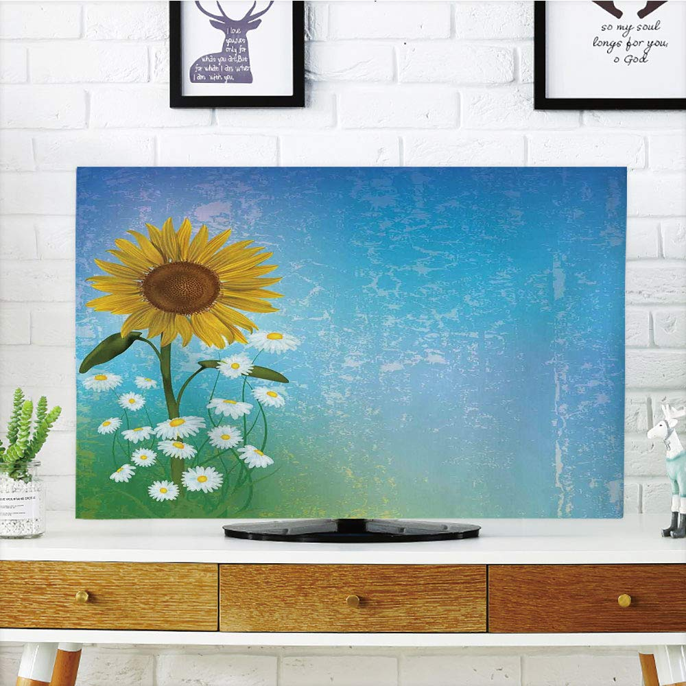 iPrint LCD TV Cover Multi Style,Sunflower Decor,Grunge Floral Illustration with Sunflower and Chaomiles Pastel Summertime Art,Blue Yellow Green,Customizable Design Compatible 70'' TV