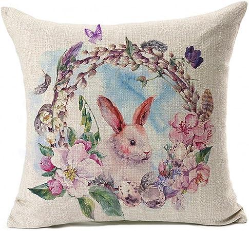 Housse de coussin lapin Pâques Taie d/'oreiller Coton Décor en lin Home Decor