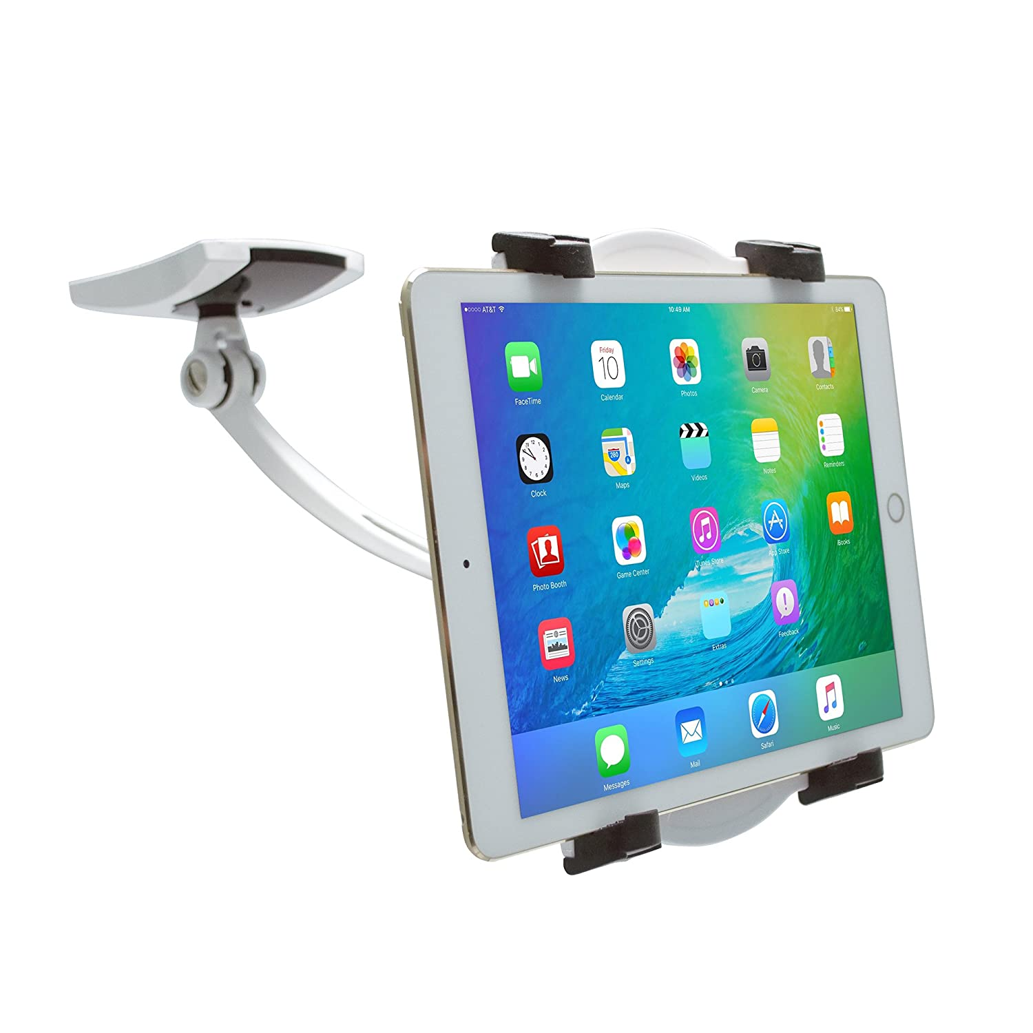 """CTA Digital Wall/Under-Cabinet & Desk Mount with 2 Mounting Bases for 7-13"""" Tablets, Including 12.9-inch iPad Pro (2018) and 11-inch iPad Pro (2018)"""