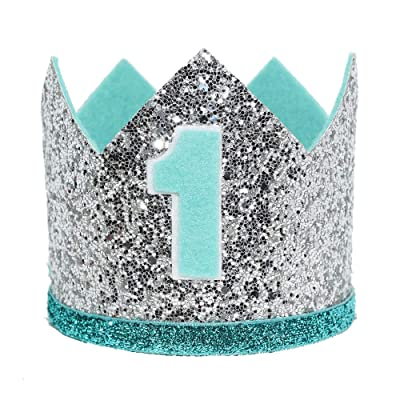 Maticr Glitter Baby Boy First Birthday Crown Number 1 Headband Little Prince Princess Cake Smash Photo Prop (Large Silver & Mint 1): Toys & Games