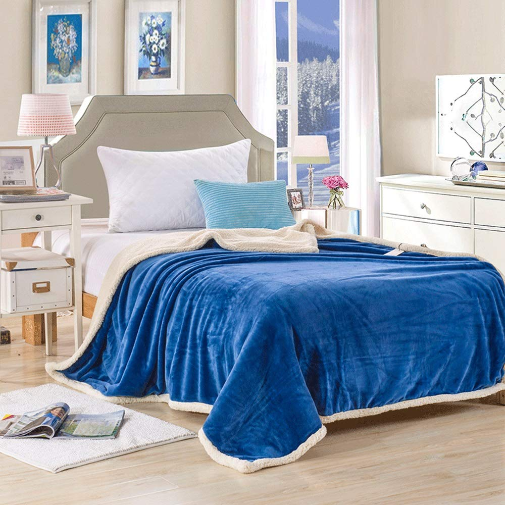 ZXT Winter AB Double Thick Warm Lamb Cashmere Blanket Soft Flannel Baby Blanket Single Student Dormitory Sofa Plush Sheets Quilt 150200cm (Color : A, Size : 150200cm) by ZXT